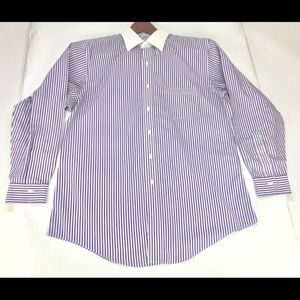 Brooks Brothers 1818 Purple Pinstripe Shirt 16.5